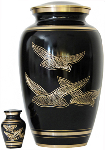 009-A - Brass Urn<br>Velvet Box plus<br>1 Keepsake<br>Black/ Gold Trim
