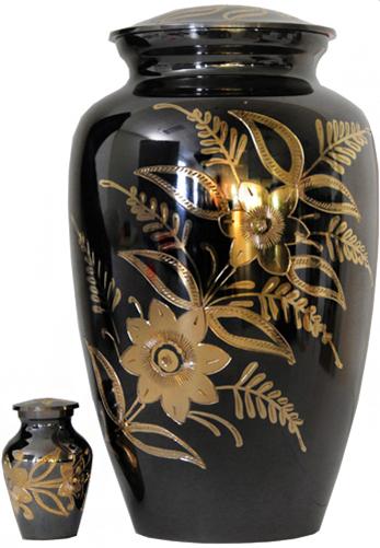 012-A - Brass Urn<br>Velvet Box plus<br>1 Keepsake<br>Black/ Mirror Finish