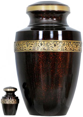 141-A - Brass Urn<br>Velvet Box plus<br>1 Keepsake<br>Dark Red