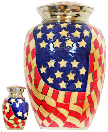 017-A - Brass Urn<br>Velvet Box plus 1 Keepsake<br>Red White & Blue