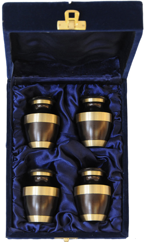 021-C - 4 Mini Brass Urn<br>Velvet Box