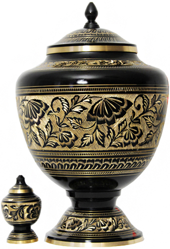 043-A - Brass Urn<br>Velvet Box plus 1 Keepsake<br>Black with Gold Trim