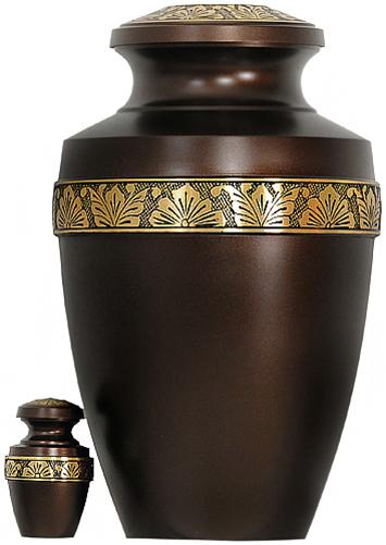 063-A - Brass Urn<br>Velvet Box plus<br>1 Keepsake<br>Brown with Gold