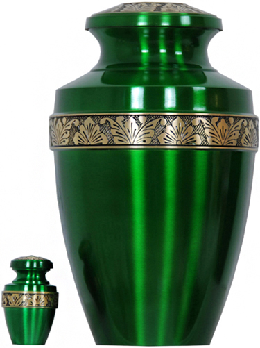 065-A - Brass Urn<br>Velvet Box plus<br>1 Keepsake<br>Green