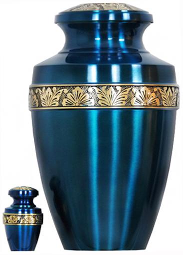 066-A - Brass Urn<br>Velvet Box plus<br>1 Keepsake<br>Teal