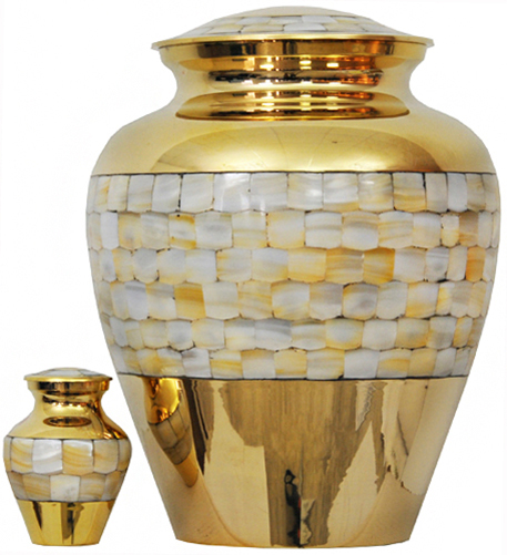 094-A - Brass Urn<br>Velvet Box plus<br>1 Keepsake<br>Gold with Mother of Pearl