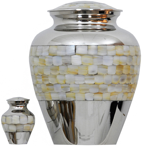 095-A - Brass Urn<br>Velvet Box plus<br>1 Keepsake<br>Silver with Pearl inlay